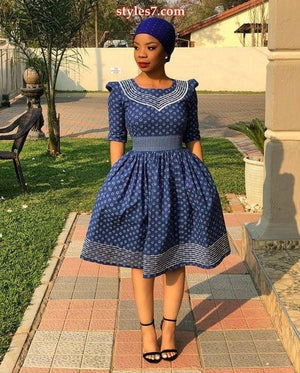 Blue shweshwe dress