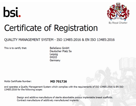 BellaSeno receives ISO 13485 Certification