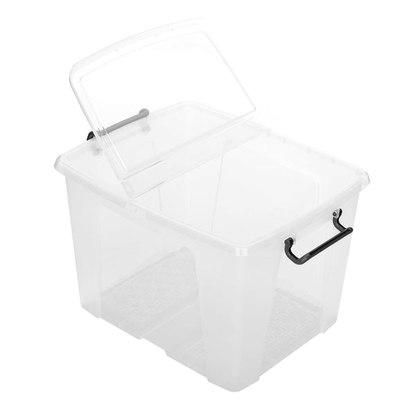 65L Smart Storemaster Box W/Clip Handles Clear