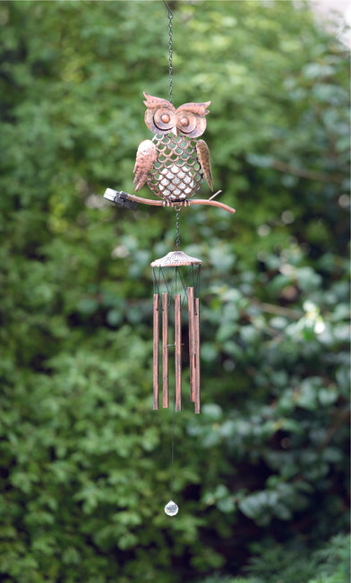 Solar Windchime Bronze Metal Owl