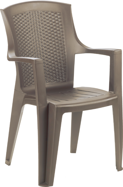 Eden Rattan Effect Chair Taupe Stackable