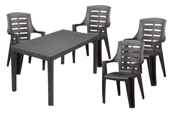 Sumatra Table and Jakarta Chair 5 Piece Set