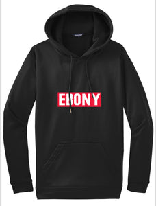 EBONY THROWBACK LOGO - HOODIE  IN BLACK OR WHITE