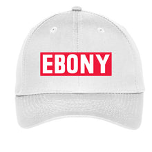 Load image into Gallery viewer, EBONY THROWBACK LOGO COLLECTION - CAP IN BLACK OR WHITE