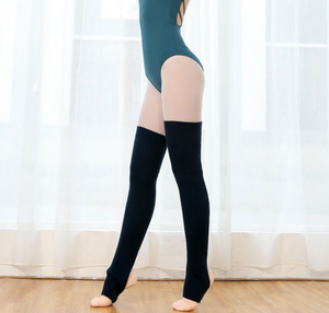 Black Thigh High Yoga Rib Knitted Leg Warmer