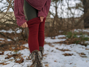 Deep Burgundy Rib Knitted Long Leg Warmer