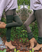 Load image into Gallery viewer, Forest Green Thigh High Yoga Rib Knitted Leg Warmer