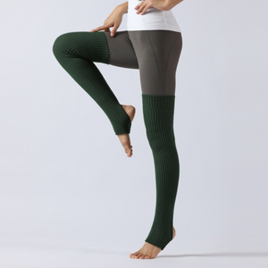 Forest Green Thigh High Yoga Rib Knitted Leg Warmer