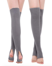 Load image into Gallery viewer, Gray Thigh High Yoga Rib Knitted Leg Warmer