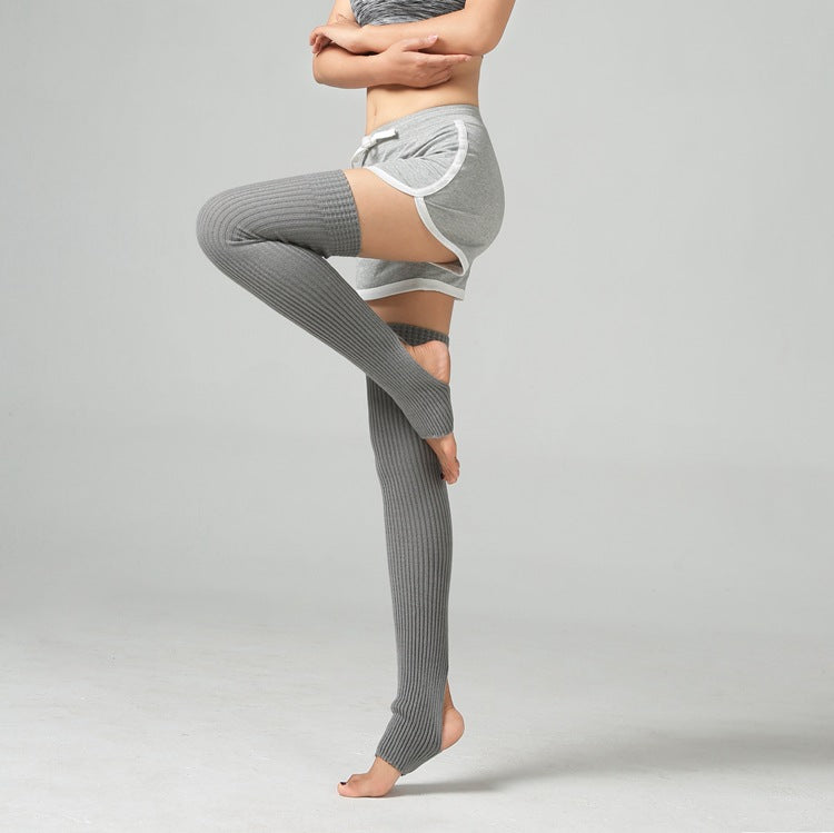 Gray Thigh High Yoga Rib Knitted Leg Warmer