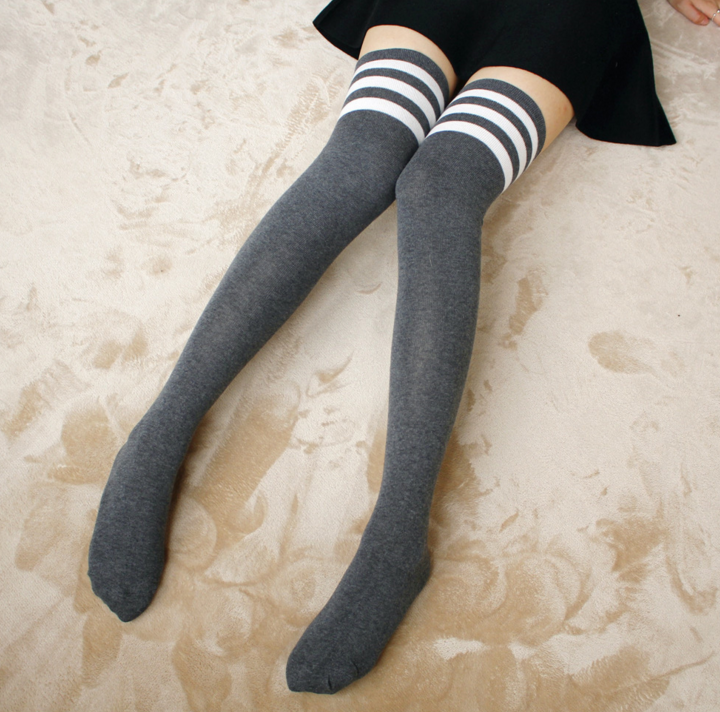 Gray w/ White Sporty Stripe Long Sock