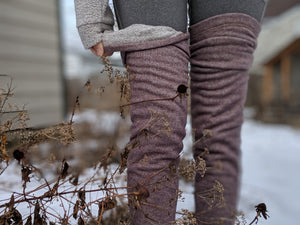 Raspberry Mocha French Terry/Sherpa Leg Warmer