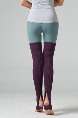 Purple Thigh High Yoga Rib Knitted Leg Warmer