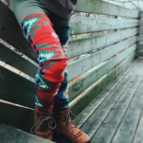 Red Green Aztec Fleece Leg Warmer