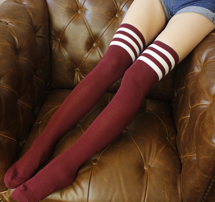 Burgundy Sporty Stripe Long Sock