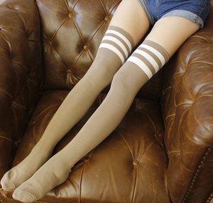 Tan Sporty Stripe Long Sock