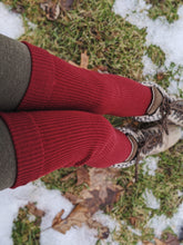 Load image into Gallery viewer, Deep Burgundy Rib Knitted Long Leg Warmer