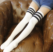 Load image into Gallery viewer, White w/ Black Sporty Stripe Long Sock