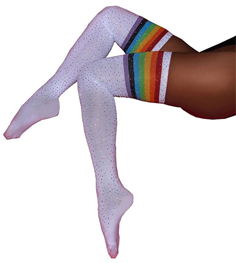 White Rainbow Sparkle Sporty Stripe Long Sock