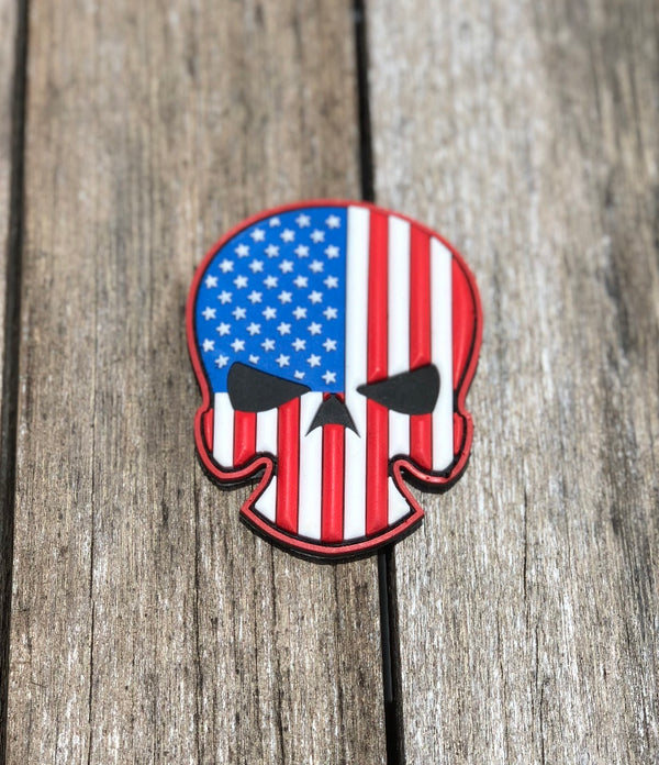 3D PVC SKULL FLAG PATCH