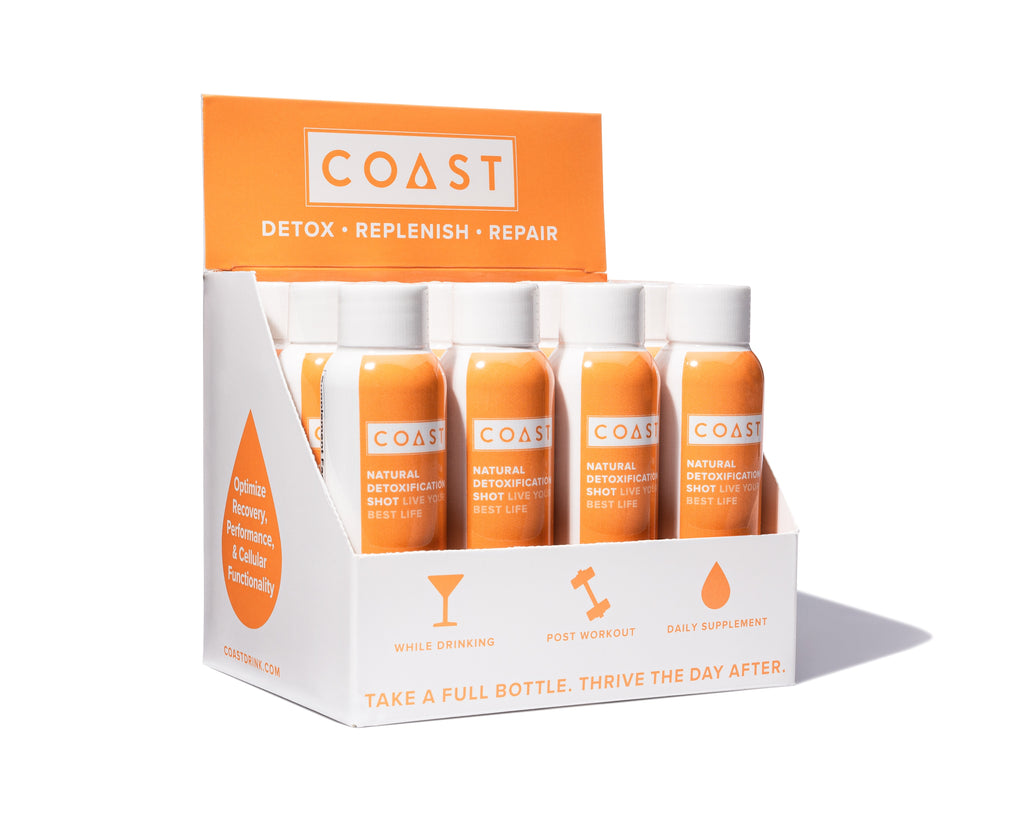 Box of 12 COAST. Take COAST drink while drinking, post workout, or as a daily supplement as a natural detox and hangover cure.