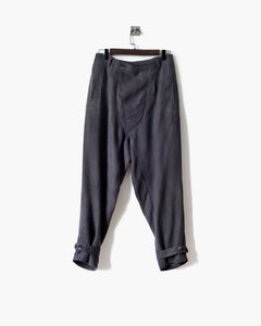ROSEN Brontë Trousers in Grey Silk Linen Sz 1-2