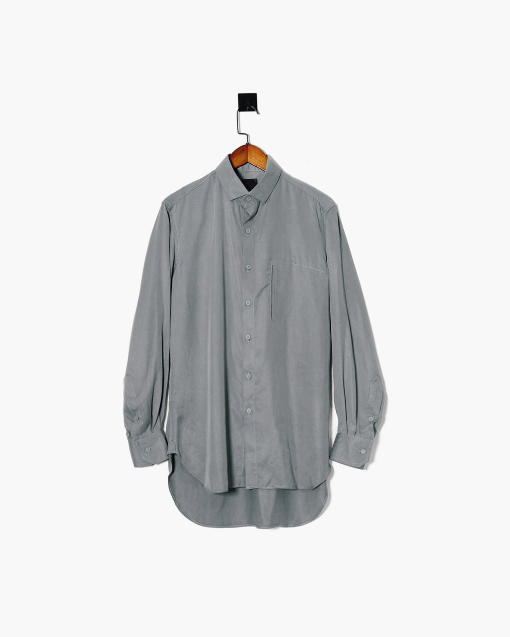 ROSEN Professional Shirt in Grey Sandwashed Silk Sz 1