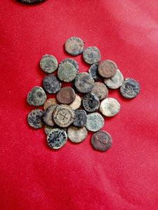 UNCLEANED-AND-UNSORTED-DESERT-ROMAN-CROSS-COINS-www.nerocoins.com