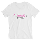 Classic Beauty and Brains Short Sleeve V-Neck T-Shirt