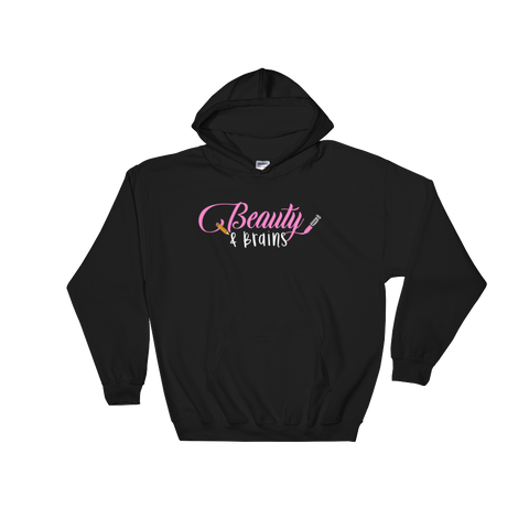 Classic Beauty and Brains Logo Hoodie- Black