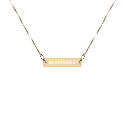 BE SQUARED Engraved Bar Chain Necklace