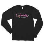 Beauty and Brains Logo Long Sleeve T-shirt- Black
