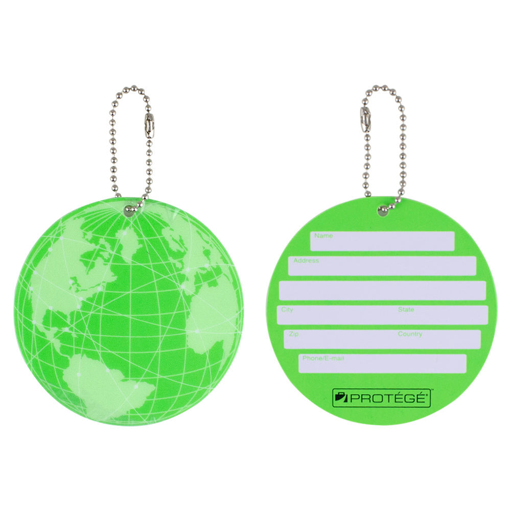 Protege Neon Round EZ ID Luggage Tags, 2 Pack
