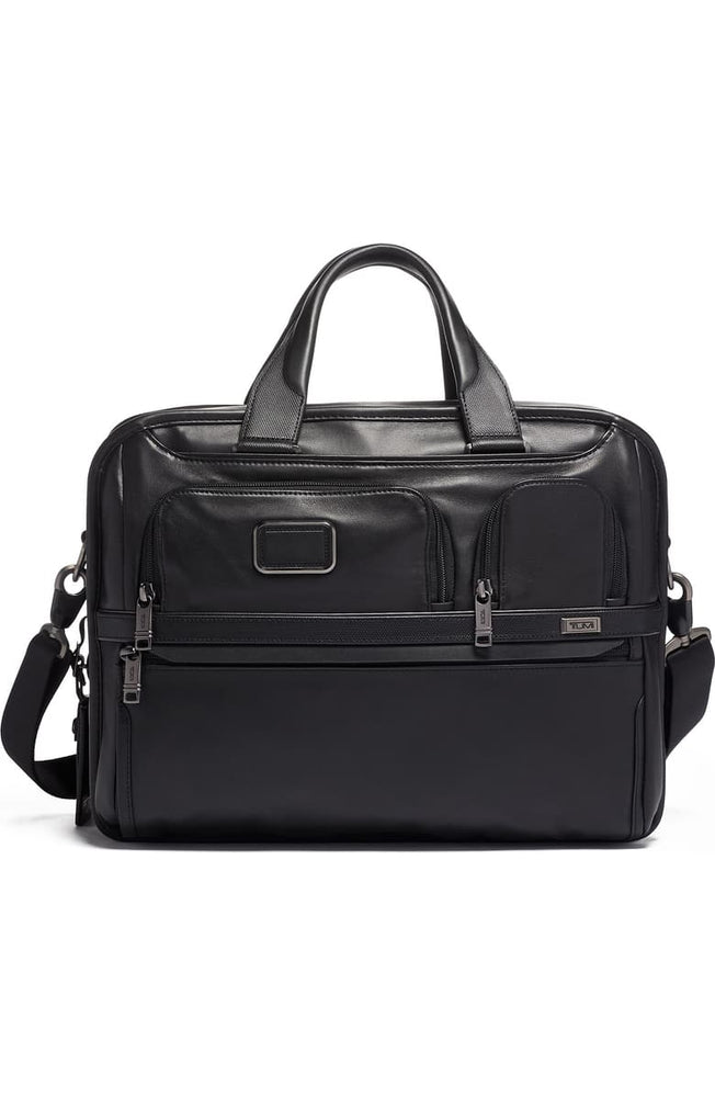 Alpha 3 Expandable Organizer Leather Laptop Briefcase