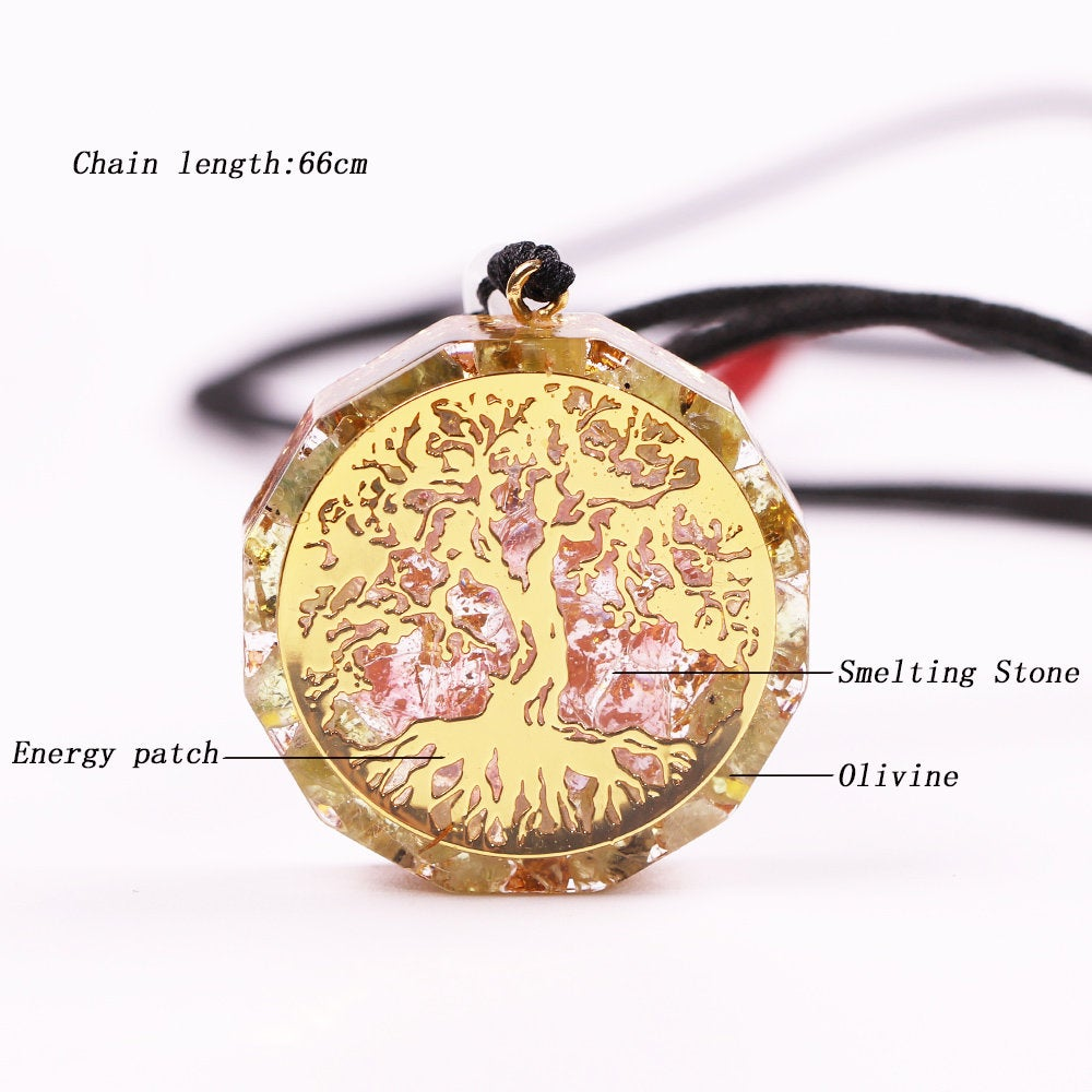 Crystal Necklace Orgone Pendant with Tree of Life Green Aventurine Mother Earth OrgonChi Moss Agate Jade