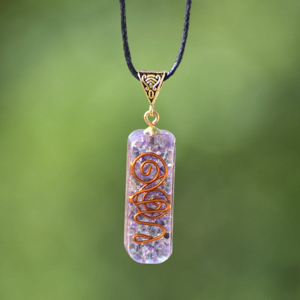 Orgonite pendant\u00ae to help emotional and mental unlocking with opals and amethyst lucid dreams