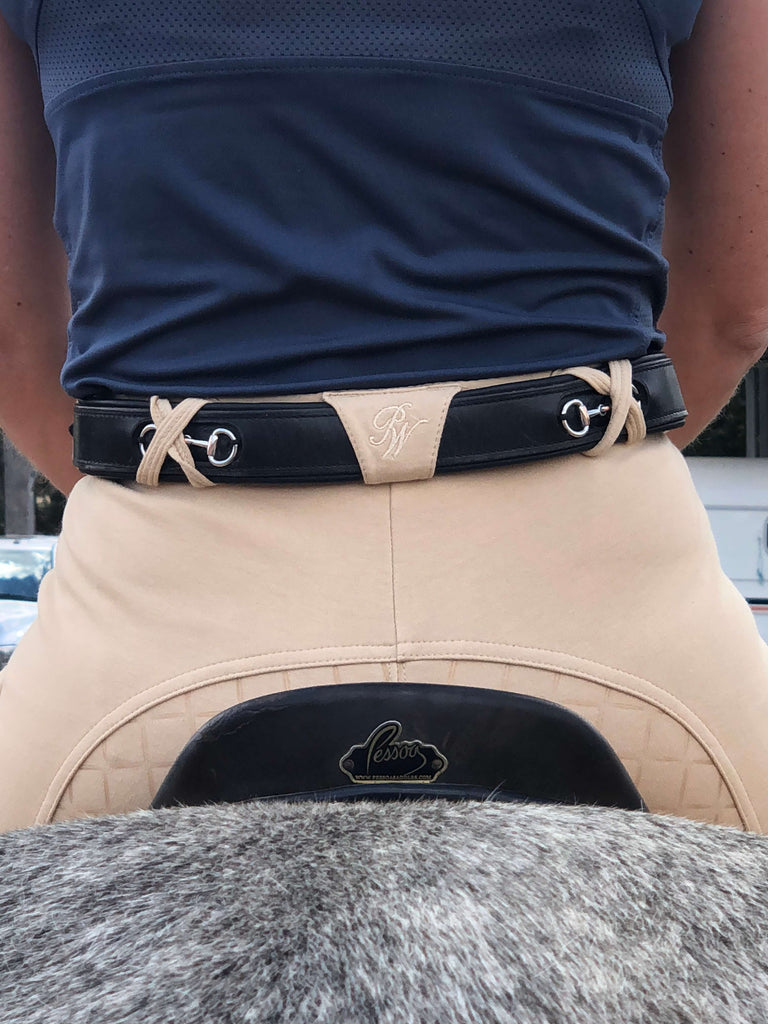 Rear view of rider wearing Peter Williams Gel Seat Gripper Breeches in beige