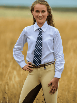 Children Standard Collar Equestrian Show Shirt - White