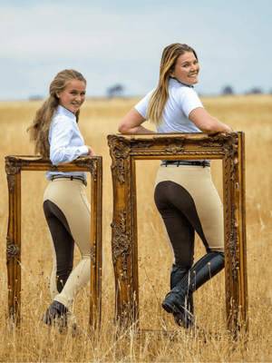 Lady and Child in Beige Chocolate Slicker Sticker JODHPURS