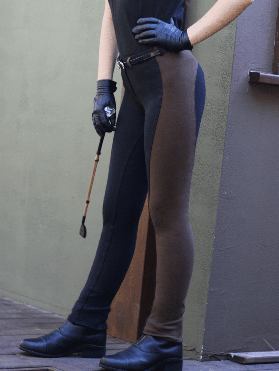 Contrast Pull-on Jodhpurs - Ladies - Black/Chocolate