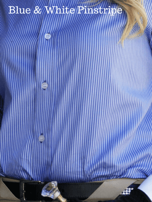 Ladies wearing blue and white pinstripe Show Shirts with Rat Catcher Collar