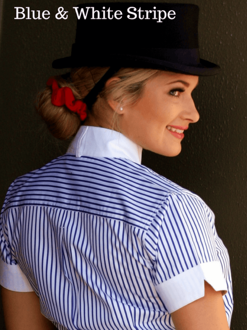 Ladies wearing red and white pinstripe Show Shirts with Rat Catcher Collar