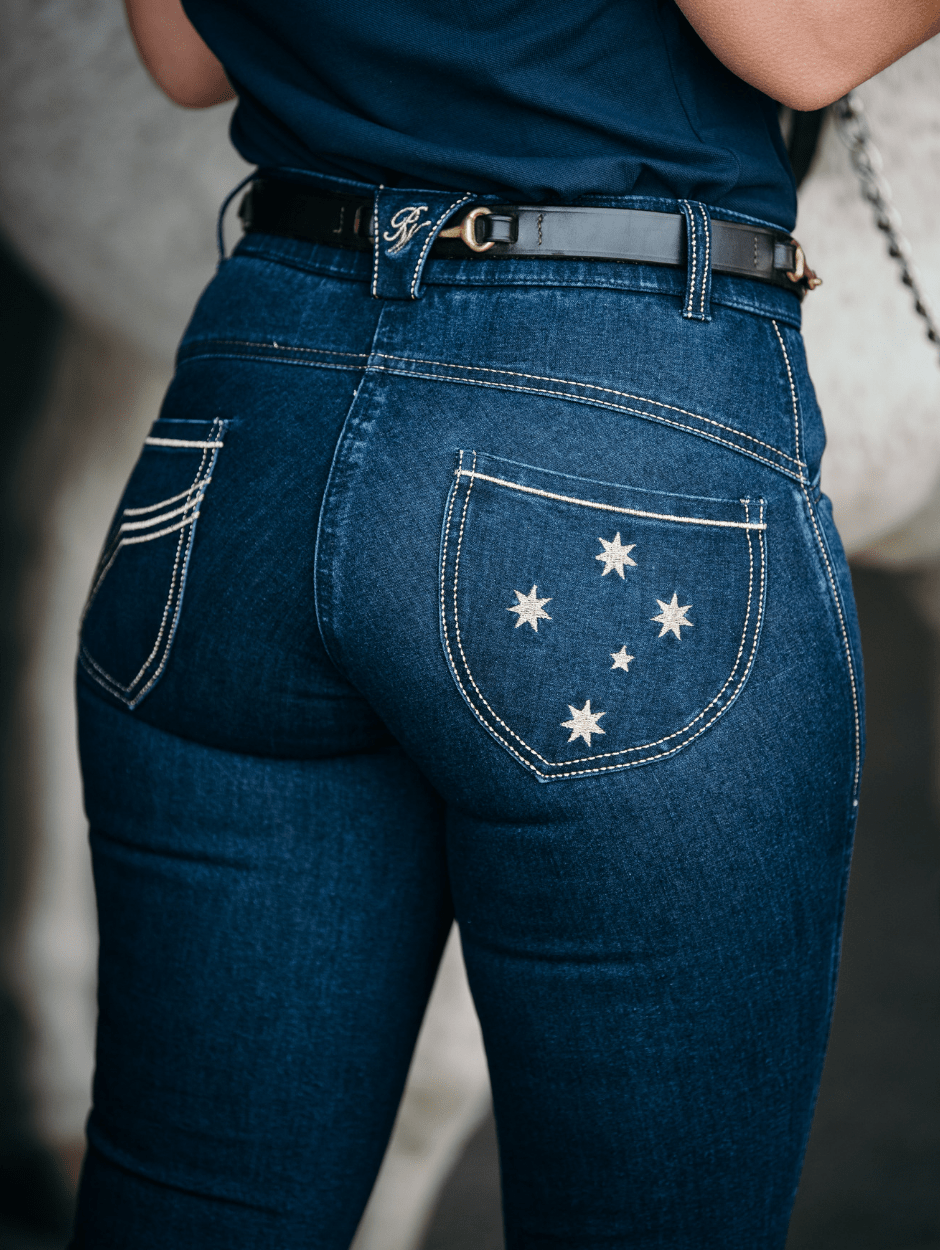 Ladies Denim Riding Jeans - Stars