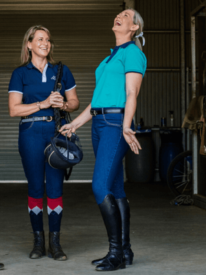 Ladies Pull On Denim Breeches - Roses