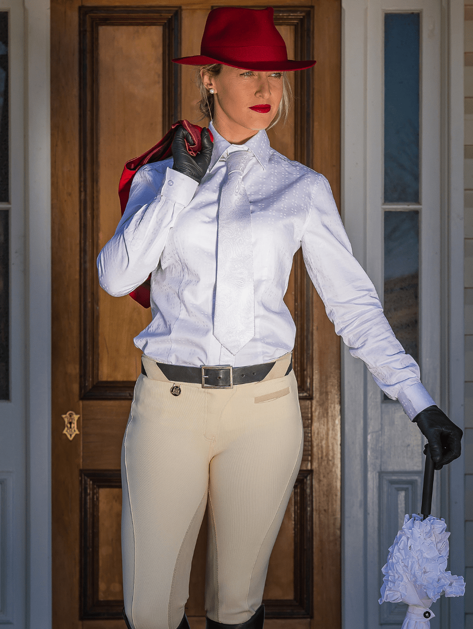Ladies Show Full Seat Jodhpurs - Cream