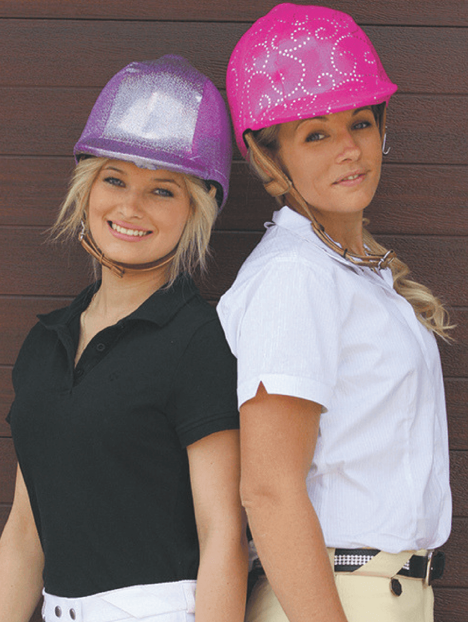 Children wearing Pink shimmer Helmet Covers