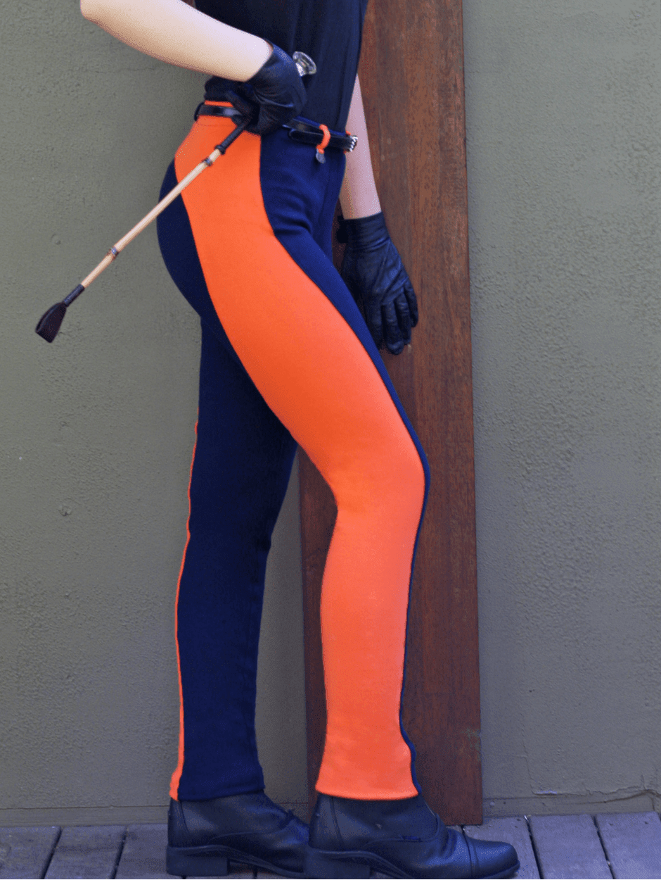 Contrast Pull-on Jodhpurs - Ladies - Navy/Tangerine