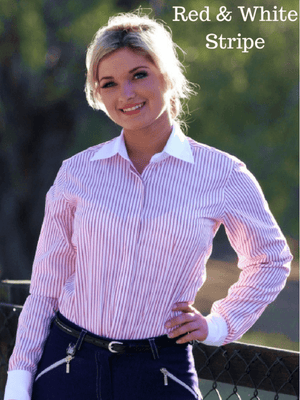 Ladies wearing red and white stripe Show Shirts with Rat Catcher Collar