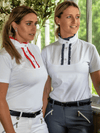 Ladies wearing Ruffle Shirts in Navy and Red