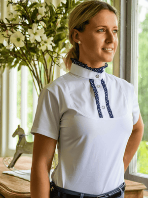 Ladies wearing Ruffle Shirts in Navy